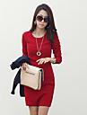 yiluo ol elegant de mari dimensiuni subțire cu maneci lungi rochie bodycon (roșu)