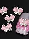 10st flygande fjäril med rosa katt öga sten 3d legering nagel konst dekoration