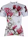 ILPALADINO Femme Manches Courtes Maillot de Cyclisme - Blanc Floral / Botanique Cyclisme Maillot Hauts / Top, Sechage rapide Resistant aux ultraviolets Respirable, Printemps Ete, 100 % Polyester