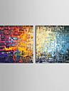 HANDMÅLAD Abstrakt Oljemålning,Kanvas Mer än fem paneler
