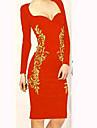 elegant bodycon imprimeu floral cu maneca lunga rochie pana la genunchi femei GGN lui