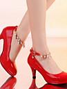 Pantofi pentru femei - Imitație de Piele - Toc Stiletto - Vârf Rotund - Pantofi cu Toc - Casual - Negru / Roz / Roșu / Bej