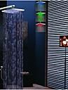Moderne Montage mural Douche pluie Douchette inclue Thermostatique LED with  Soupape en laiton Deux poignées quatre trous for  Chrome ,
