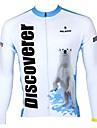 ILPALADINO Homme Manches Longues Maillot de Cyclisme - blanc + bleu ciel Rayure Cyclisme Maillot Hauts / Top, Sechage rapide Resistant aux ultraviolets Respirable, Printemps Ete Automne, 100