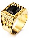 Bărbați Inele Afirmatoare Piatră Preţioasă Negru natural Iubire Personalizat costum de bijuterii Teak Teracotă Placat Auriu 18K de aur