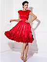 Oscar de la Renta Style A-Line Jewel Neck Knee Length Stretch Satin Cocktail Party Dress with Appliques by TS Couture®