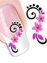 1 pcs 3D Tırnak Çıkartması Su Transferi Sticker tırnak sanatı Manikür pedikür Çiçek / Moda Günlük / 3D Çivi Çıkartmaları