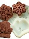 jul handskar snöflinga fondant tårta choklad silikonform kaka dekoration verktyg, l11.7cm * w11cm * h1.7cm