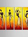 HANDMÅLAD Människor Horisontell Panoramautsikt Duk Hang målad oljemålning Hem-dekoration Fyra paneler