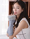Women's  V Shaped  Twist Imitation Fur Long to Wrist Knitting Wool Warm Gloves