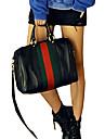 Erlen Kvinnors koreanska Style Colorful Stripes Vintage ena axeln / Crossbody Bag (Black)