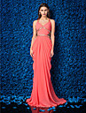 Sheath / Column V Neck Sweep / Brush Train Georgette Formal Evening Dress with Beading Criss Cross Side Draping by TS Couture®