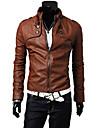Heide Men\'s Stand Collar Motor Leather Coat