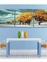 e-home® întins panza ești galben copac set de pictura decor de 3