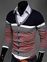 Men's Korean Slim V-Neck Striped Knit Cardigan