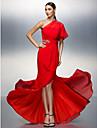 Sütun Tek Omuz Asimetrik Şifon Boncuklama / Kurdeleler / Kırma Dantel ile Balo / Resmi Akşam Elbise tarafından TS Couture®