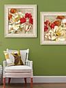Floral/Botanic Pânză Înrămată / Set Înrămat Wall Art,PVC Bej Fără Rogojină cu Frame Wall Art