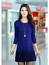 korean rundă guler tricotaje dimensiune maxi bottom rochie lână femei
