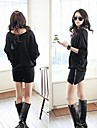 RXHX  Women's Fashion Round Neck Solid Color Batwing Sleeve Dress