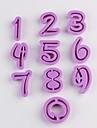belle 0-9 nombre numérique biscuits moule en plastique de coupe 10 pièces / lot, taille unique 4.8x3.6x1.2cm