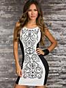 ML Plus Size New Fashion Femeile Vintagte tipărite alb-negru Patchwork rochie casual Bodycon Mini Dress 9023