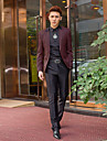 Burgundia&de imprimare negru Tuxedo slim fit din poliester