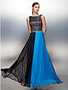 Coloană / Teacă Bijuterie Lungime Podea Șifon Bal Seară Formală Rochie cu Dantelă Eșarfă / Panglică de TS Couture®