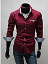 Lång ärm - Casual Skjortor (Bomullsblandning)till MÄN Skjortkrage - Casual