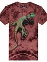 gât rotund 3d șopârlă de moda de origine animală pentru bărbați imprimat cu maneci scurte t-shirt