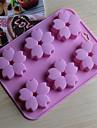 6 gaura matrite de ciocolata flori de cires formă de tort de gheață jeleu, silicon 15 × 14,5 × 1,5 cm (6,0 × 5,8 × 0,6 inci)