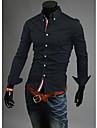 Lång ärm - Casual Skjortor ( Bomullsblandning )till MÄN Skjortkrage - Casual