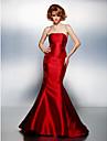 בתולת ים \ חצוצרה סטרפלס שובל קורט סאטן נשף רקודים / ערב רישמי שמלה עם אפליקציות על ידי TS Couture®