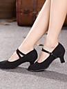 Pentru femei Piele de Căprioară Pantofi Moderni / Sală Dans Călcâi Toc Cubanez NePersonalizabili Negru / Fucsia / EU42