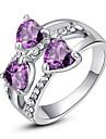 Pentru femei Cristal grup Inel de declarație - Diamante Artificiale, Aliaj Inimă, Iubire Clasic, Modă O Mărime Mov / Curcubeu / Transparent Pentru Petrecere
