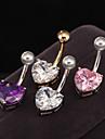 Zirconiu Cubic Inel inelar / Piercing pe burta - Teak, Zirconiu, Zirconiu Cubic Inimă, Iubire Design Unic, Modă Pentru femei Mov / Roz / Auriu Bijuterii de corp Pentru Zilnic / Casual