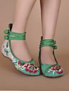 Damă Pantofi brodate Pânză Primăvară Vară Toamnă Casual Pantofi brodate Cataramă Toc Plat Negru Roșu Verde Plat