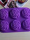 bakeware silikon rose bakformar för chokladkaka gelé (slumpmässiga färger)