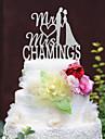 Vârfuri de Tort Personalizat Cuplu Clasic / Inimi Crom Nuntă / Aniversare / Petrecerea Bridal Shower Argintiu 1 Sac poli
