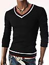 A bărbaților Tricouri Lână / Poliester / Licra / Bumbac Organic / Amestec Lână Pur Casual / Muncă / Formal / Sport Manșon Lung-Negru /