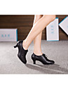 Chaussures de danse(Noir Or) -Non Personnalisables-Talon Cubain-Cuir-Latine