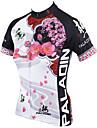 ILPALADINO Femme Manches Courtes Maillot de Cyclisme - Blanc Floral / Botanique Velo Maillot, Sechage rapide, Resistant aux ultraviolets,