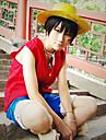 Inspirat de One Piece Monkey D. Luffy Anime Costume Cosplay Costume Cosplay Peteci Fără manșon Vestă Pantaloni scurți Pentru Bărbătesc