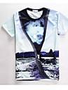 A bărbaților Tricouri Print Casual / Muncă / Sport Manșon Scurt-Multi Color