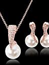 Perle Set bijuterii - Perle, Zirconiu Cubic, Placat Cu Aur Roz Lux, Petrecere, Modă Include Auriu Pentru Petrecere / Ocazie specială / Aniversare / Diamante Artificiale / Σκουλαρίκια / Coliere
