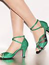 בגדי ריקוד נשים נעליים לטיניות דמוי עור עקב גבוה / סנדלים פאייטים / אבזם / שרוכים עקב מותאם מותאם אישית נעלי ריקוד ירוק / בבית