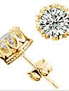 Pentru femei Cercei Stud stil minimalist La modă de Mireasă costum de bijuterii Zirconiu Zirconiu Cubic Crown Shape Bijuterii Pentru