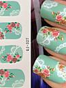 1 Vattenövergångsklistermärke Snörklistermärke 3D Nail Stickers Blomma Mode Dagligen Hög kvalitet