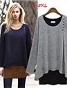 Lång ärm KVINNOR T-Shirts ( Polyester )med Rund i Casual stil
