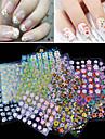 30pcs Bijoux a ongles Autocollants 3D pour ongles Modele d\'estampage d\'ongles Quotidien Fleur Mode Adorable Haute qualite