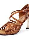 Pentru femei Pantofi Dans Latin / Sală Dans Piele / Satin Călcâi Cataramă Toc Stilat NePersonalizabili Pantofi de dans Negru / Maro